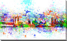 "Wall Art by Bekim Mehovic ""New York Skyline Splats II"", All Canvas Art,All Subjects,Cityscapes,All Colors,All Shapes,All Artists,white art,Landscape Shape,Bekim Mehovic"