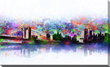 "Wall Art by Bekim Mehovic ""New York Skyline Splats"", All Canvas Art,All Subjects,Cityscapes,All Colors,All Shapes,All Artists,white art,Landscape Shape,Bekim Mehovic"