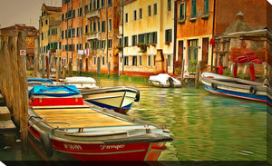 "Wall Art by Yuri Malkov ""Venice Canals Iv"", All Canvas Art,All Subjects,Cityscapes,All Colors,All Shapes,All Artists,green art,Landscape Shape,Yuri Malkov"