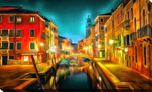 "Wall Art by Yuri Malkov ""Venice Nights"", All Canvas Art,All Subjects,Cityscapes,All Colors,All Shapes,All Artists,multi-color art,Landscape Shape,Yuri Malkov"
