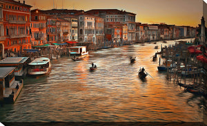 "Wall Art by Yuri Malkov ""Venice Sunset"", All Canvas Art,All Subjects,Cityscapes,All Colors,All Shapes,All Artists,orange art,Landscape Shape,Yuri Malkov"