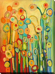 "Wall Art by Jennifer Lommers ""Dance Of The Flower Pods"", All Canavs Art,Floral,All Colors,All Shapes,All Artists,multi-color art,Portrait Shape,Jennifer Lommers"