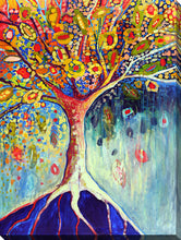 "Wall Art by Jennifer Lommers ""Fiestatree"", All Canavs Art,Floral,All Colors,All Shapes,All Artists,blue art,Portrait Shape,Jennifer Lommers"