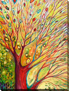 "Wall Art by Jennifer Lommers ""Rainbow Tree In Autumn"", All Canavs Art,Floral,All Colors,All Shapes,All Artists,yellow art,Portrait Shape,Jennifer Lommers"