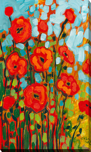 "Giclee Stretched Canvas Wall Art by Jennifer Lommers ""Red Poppies I"", All Canavs Art,Floral,All Colors,All Shapes,All Artists,red art,Portrait Shape,Jennifer Lommers"