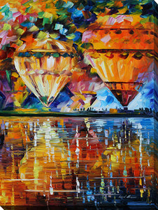 "Wall Art by Leonid Afremov ""Balloon Reflections"", All Canvas Art,All Subjects,Coastal,Sea and Shore,All Colors,All Shapes,All Artists,multi-color art,Portrait Shape,Leonid Afremov"