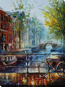 "Wall Art by Leonid Afremov ""Bicycle In Amsterdam"", All Canvas Art,All Subjects,Cityscapes,All Colors,All Shapes,All Artists,multi-color art,Portrait Shape,Leonid Afremov"
