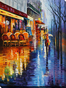 "Wall Art by Leonid Afremov ""Cafe In Paris Ii"", All Canvas Art,All Subjects,Cityscapes,All Colors,All Shapes,All Artists,multi-color art,Portrait Shape,Leonid Afremov"