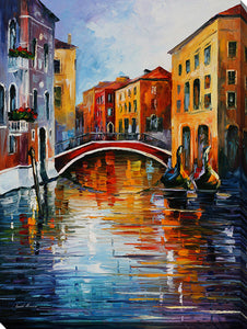 "Wall Art by Leonid Afremov ""Canal In Venice"", All Canvas Art,All Subjects,Cityscapes,All Colors,All Shapes,All Artists,multi-color art,Portrait Shape,Leonid Afremov"