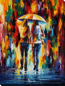 "Wall Art by Leonid Afremov ""Friends Under The Rain"", All Canvas Art,All Subjects,Figurative,All Colors,All Shapes,All Artists,multi-color art,Portrait Shape,Leonid Afremov"