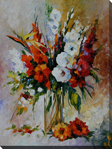 "Wall Art by Leonid Afremov ""Gladiolus"", All Canavs Art,Floral,All Colors,All Shapes,All Artists,beige art,Portrait Shape,Leonid Afremov"
