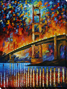 "Wall Art by Leonid Afremov ""Golden Gate Bridge"", All Canvas Art,All Subjects,Cityscapes,All Colors,All Shapes,All Artists,multi-color art,Portrait Shape,Leonid Afremov"