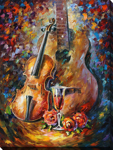 "Wall Art by Leonid Afremov ""Guitar And Violin"", All Canvas Art,All Subjects,Celebrities,All Colors,All Shapes,All Artists,multi-color art,Portrait Shape,Leonid Afremov"