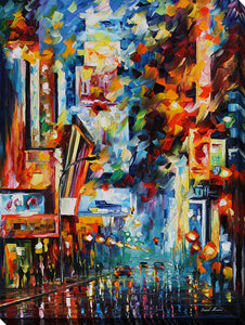 "Wall Art by Leonid Afremov ""Night Broadway"", All Canvas Art,All Subjects,Cityscapes,All Colors,All Shapes,All Artists,multi-color art,Portrait Shape,Leonid Afremov"