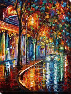 "Wall Art by Leonid Afremov ""Night Cafe"", All Canvas Art,All Subjects,Cityscapes,All Colors,All Shapes,All Artists,multi-color art,Portrait Shape,Leonid Afremov"