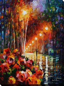 "Wall Art by Leonid Afremov ""Park Flowers"", All Canvas Art,All Subjects,Landscapes,All Colors,All Shapes,All Artists,multi-color art,Portrait Shape,Leonid Afremov"
