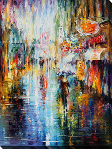 "Wall Art by Leonid Afremov ""Rain From The Soul"", All Canvas Art,All Subjects,Cityscapes,All Colors,All Shapes,All Artists,multi-color art,Portrait Shape,Leonid Afremov"