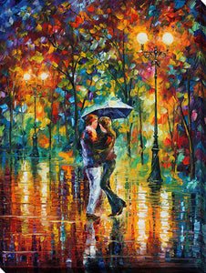 "Wall Art by Leonid Afremov ""Rainy Dance"", All Canvas Art,All Subjects,Landscapes,All Colors,All Shapes,All Artists,multi-color art,Portrait Shape,Leonid Afremov"