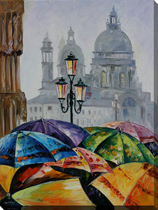 "Wall Art by Leonid Afremov ""Rainy Day In Venice"", All Canvas Art,All Subjects,Cityscapes,All Colors,All Shapes,All Artists,multi-color art,Portrait Shape,Leonid Afremov"