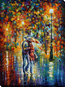 "Wall Art by Leonid Afremov ""Rainy Evening"", All Canvas Art,All Subjects,Landscapes,All Colors,All Shapes,All Artists,multi-color art,Portrait Shape,Leonid Afremov"