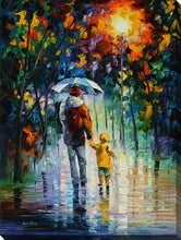 "Wall Art by Leonid Afremov ""Rainy Walk With Daddy"", All Canvas Art,All Subjects,Landscapes,All Colors,All Shapes,All Artists,multi-color art,Portrait Shape,Leonid Afremov"