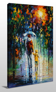 Wall Art  by Leonid Afremov  Rainy Walk With Daddy