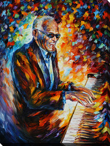 "Wall Art by Leonid Afremov ""Ray Charles"", All Canvas Art,All Subjects,Celebrities,All Colors,All Shapes,All Artists,multi-color art,Portrait Shape,Leonid Afremov"