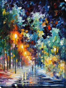 "Wall Art by Leonid Afremov ""Romantic Winter"", All Canvas Art,All Subjects,Landscapes,All Colors,All Shapes,All Artists,blue art,Portrait Shape,Leonid Afremov"