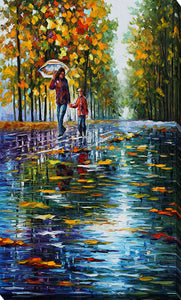 "Giclee Stretched Canvas Wall Art by Leonid Afremov ""Stroll In A Autumn Park"", All Canvas Art,All Subjects,Landscapes,All Colors,All Shapes,All Artists,multi-color art,Portrait Shape,Leonid Afremov"