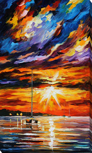 "Giclee Stretched Canvas Wall Art by Leonid Afremov ""Sunset Melody"", All Canvas Art,All Subjects,Coastal,Sea and Shore,All Colors,All Shapes,All Artists,multi-color art,Portrait Shape,Leonid Afremov"