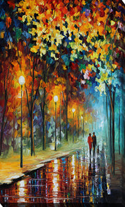 "Giclee Stretched Canvas Wall Art by Leonid Afremov ""The Warmth Of Friends"", All Canvas Art,All Subjects,Landscapes,All Colors,All Shapes,All Artists,multi-color art,Portrait Shape,Leonid Afremov"