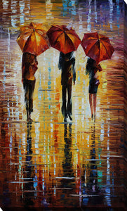 "Giclee Stretched Canvas Wall Art by Leonid Afremov ""Three Red Umbrellas"", All Canvas Art,All Subjects,Figurative,All Colors,All Shapes,All Artists,multi-color art,Portrait Shape,Leonid Afremov"