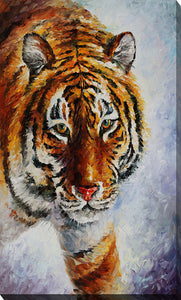 "Giclee Stretched Canvas Wall Art by Leonid Afremov ""Tiger On The Snow"", All Canvas Art,All Subjects,Animals,All Colors,All Shapes,All Artists,orange art,Portrait Shape,Leonid Afremov"