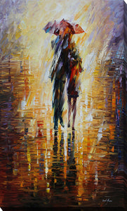"Giclee Stretched Canvas Wall Art by Leonid Afremov ""Together In The Storm"", All Canvas Art,All Subjects,Figurative,All Colors,All Shapes,All Artists,orange art,Portrait Shape,Leonid Afremov"