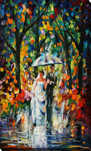 "Giclee Stretched Canvas Wall Art by Leonid Afremov ""Wedding Under The Rain"", All Canvas Art,All Subjects,Figurative,All Colors,All Shapes,All Artists,multi-color art,Portrait Shape,Leonid Afremov"