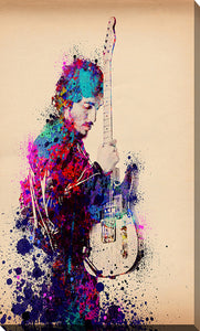 "Giclee Stretched Canvas Wall Art by Bekim Mehovic ""Bruce Springsteen Splats And Guitar I"", All Canvas Art,All Subjects,Celebrities,All Colors,All Shapes,All Artists,multi-color art,Portrait Shape,Bekim Mehovic"