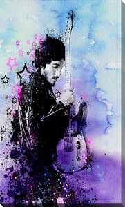 "Giclee Stretched Canvas Wall Art by Bekim Mehovic ""Bruce Springsteen Splats And Guitar Ii"", All Canvas Art,All Subjects,Celebrities,All Colors,All Shapes,All Artists,blue art,Portrait Shape,Bekim Mehovic"