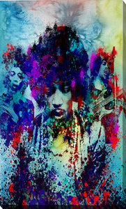 "Giclee Stretched Canvas Wall Art by Bekim Mehovic ""Hendrix III"", All Canvas Art,All Subjects,Celebrities,All Colors,All Shapes,All Artists,blue art,Portrait Shape,Bekim Mehovic"