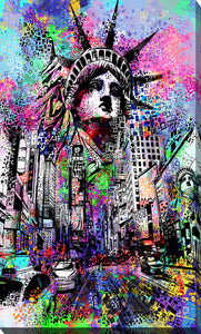 "Giclee Stretched Canvas Wall Art by Bekim Mehovic ""Time Square"", All Canvas Art,All Subjects,Cityscapes,All Colors,All Shapes,All Artists,multi-color art,Portrait Shape,Bekim Mehovic"