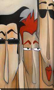 "Giclee Stretched Canvas Wall Art by Tom Fedro ""Faces #555"", All Canvas Art,All Subjects,Figurative,All Colors,All Shapes,All Artists,beige art,Portrait Shape,Tom Fedro"
