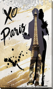 "Giclee Stretched Canvas Wall Art by Working Girls Design ""Xo Paris"", All Canvas Art,All Subjects,Cityscapes,All Colors,All Shapes,All Artists,yellow art,Portrait Shape,BY Jodi"