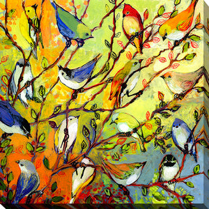 "Giclee Stretched Canvas Wall Art by Jennifer Lommers ""16 Birds"", All Canavs Art,Floral,All Colors,All Shapes,All Artists,multi-color art,Square Shape,Jennifer Lommers"