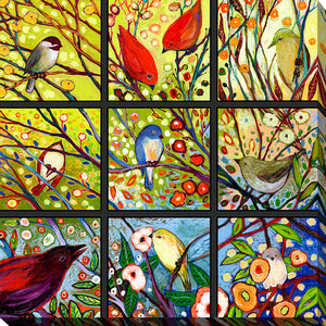 "Giclee Stretched Canvas Wall Art by Jennifer Lommers ""9 Birds I"", All Canavs Art,Floral,All Colors,All Shapes,All Artists,multi-color art,Square Shape,Jennifer Lommers"