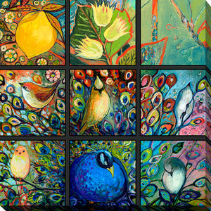 "Giclee Stretched Canvas Wall Art by Jennifer Lommers ""9 Birds II"", All Canavs Art,Floral,All Colors,All Shapes,All Artists,multi-color art,Square Shape,Jennifer Lommers"