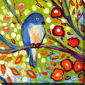 "Giclee Stretched Canvas Wall Art by Jennifer Lommers ""Bird I"", All Canavs Art,Floral,All Colors,All Shapes,All Artists,multi-color art,Square Shape,Jennifer Lommers"