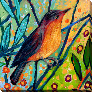 "Giclee Stretched Canvas Wall Art by Jennifer Lommers ""Bird II"", All Canavs Art,Floral,All Colors,All Shapes,All Artists,multi-color art,Square Shape,Jennifer Lommers"