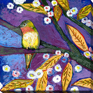 "Giclee Stretched Canvas Wall Art by Jennifer Lommers ""Bird III"", All Canavs Art,Floral,All Colors,All Shapes,All Artists,purple art,Square Shape,Jennifer Lommers"