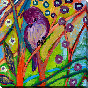 "Giclee Stretched Canvas Wall Art by Jennifer Lommers ""Bird IV"", All Canavs Art,Floral,All Colors,All Shapes,All Artists,multi-color art,Square Shape,Jennifer Lommers"
