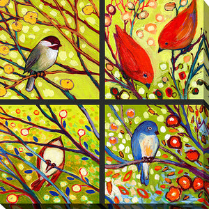 "Giclee Stretched Canvas Wall Art by Jennifer Lommers ""Bird Quadrant I"", All Canavs Art,Floral,All Colors,All Shapes,All Artists,yellow art,Square Shape,Jennifer Lommers"