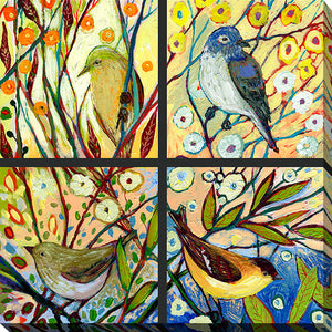 "Giclee Stretched Canvas Wall Art by Jennifer Lommers ""Bird Quadrant II"", All Canavs Art,Floral,All Colors,All Shapes,All Artists,multi-color art,Square Shape,Jennifer Lommers"